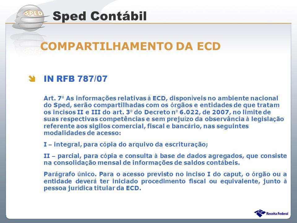 Sistema Público de Escrituração Digital IN RFB 787/07 Art. 7 º As informa ç ões relativas à ECD, dispon í veis no ambiente nacional do Sped, serão com