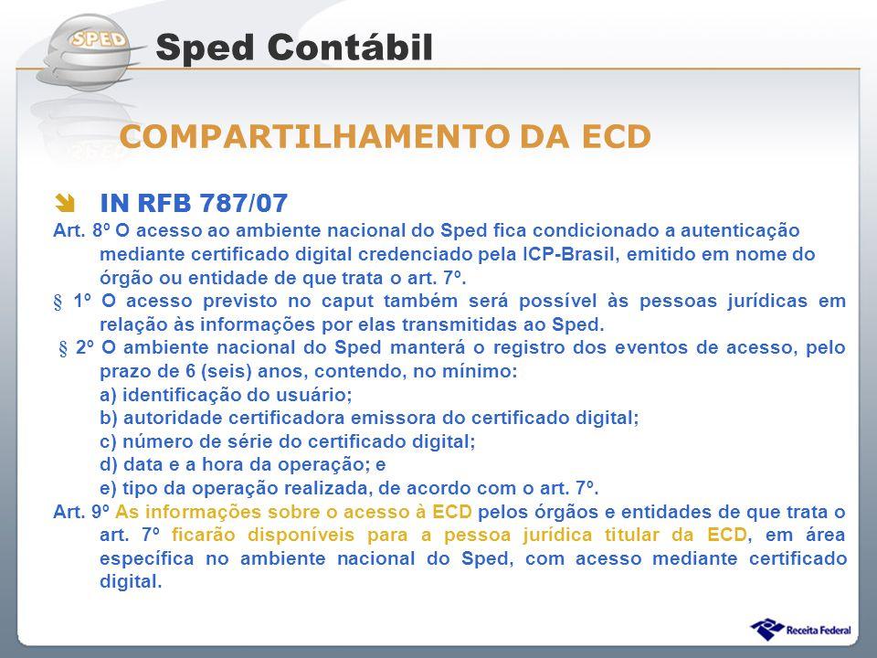 Sistema Público de Escrituração Digital IN RFB 787/07 Art. 8º O acesso ao ambiente nacional do Sped fica condicionado a autenticação mediante certific
