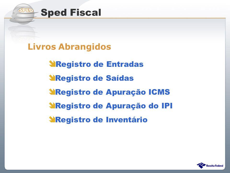 Sistema Público de Escrituração Digital Livros Abrangidos Registro de Entradas Registro de Saídas Registro de Apuração ICMS Registro de Apuração do IP