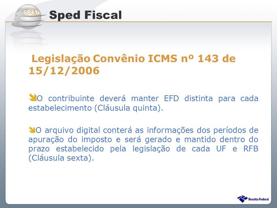 Sistema Público de Escrituração Digital Legislação Convênio ICMS nº 143 de 15/12/2006 O contribuinte deverá manter EFD distinta para cada estabelecime