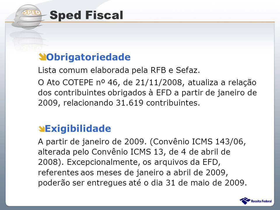 Sistema Público de Escrituração Digital Obrigatoriedade Lista comum elaborada pela RFB e Sefaz. O Ato COTEPE nº 46, de 21/11/2008, atualiza a relação