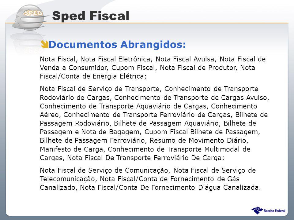 Sistema Público de Escrituração Digital Documentos Abrangidos: Nota Fiscal, Nota Fiscal Eletrônica, Nota Fiscal Avulsa, Nota Fiscal de Venda a Consumi