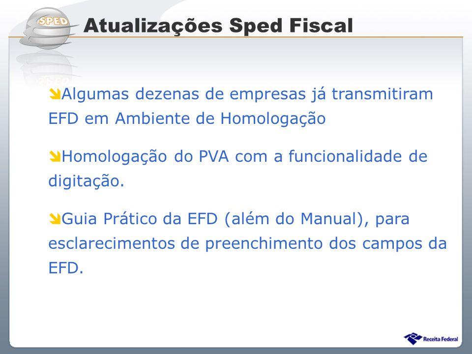 Sistema Público de Escrituração Digital Algumas dezenas de empresas já transmitiram EFD em Ambiente de Homologação Homologação do PVA com a funcionali