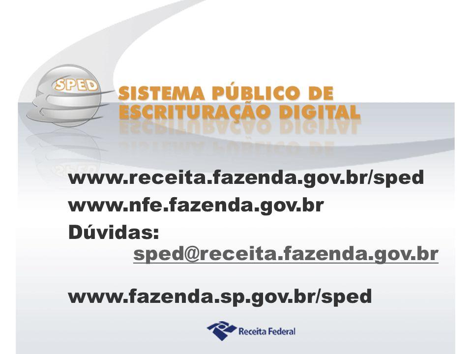 Sistema Público de Escrituração Digital www.receita.fazenda.gov.br/sped www.nfe.fazenda.gov.br Dúvidas: sped@receita.fazenda.gov.br www.fazenda.sp.gov