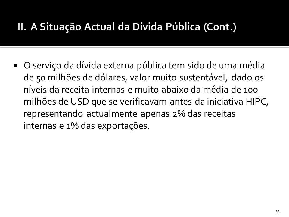11 O serviço da dívida externa pública tem sido de uma média de 50 milhões de dólares, valor muito sustentável, dado os níveis da receita internas e m