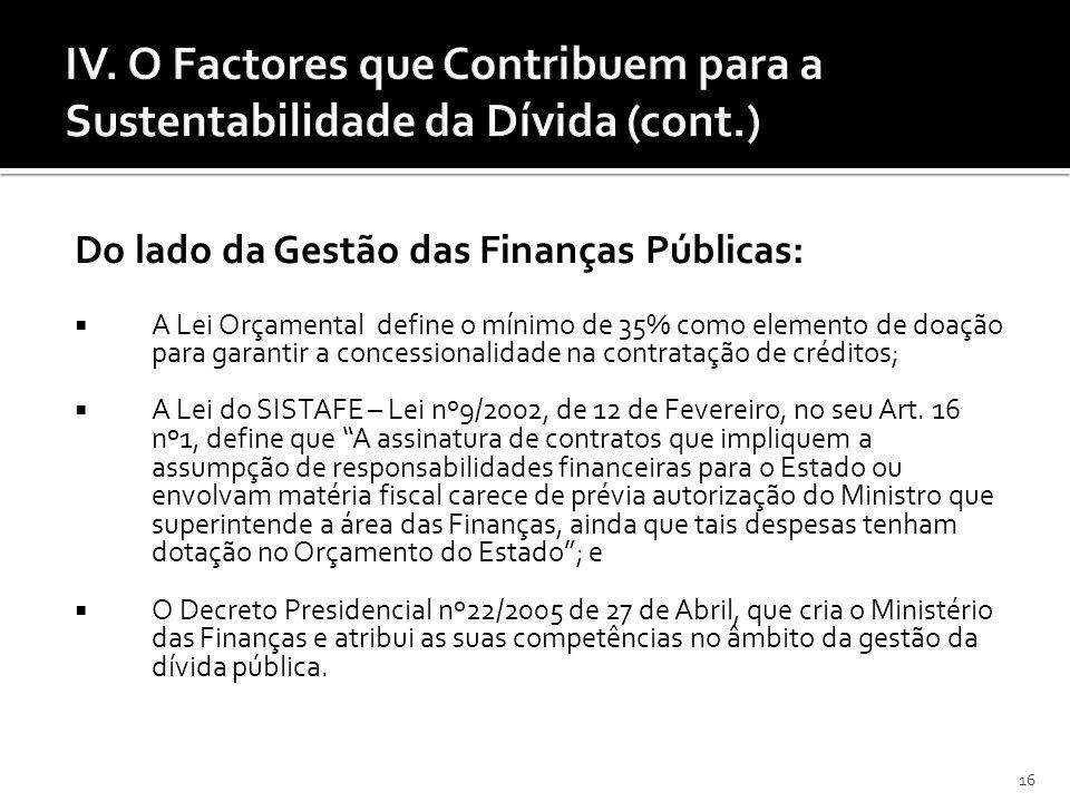 16 IV. O Factores que Contribuem para a Sustentabilidade da Dívida (cont.) Do lado da Gestão das Finanças Públicas: A Lei Orçamental define o mínimo d