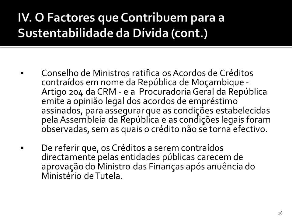 18 IV. O Factores que Contribuem para a Sustentabilidade da Dívida (cont.) Conselho de Ministros ratifica os Acordos de Créditos contraídos em nome da