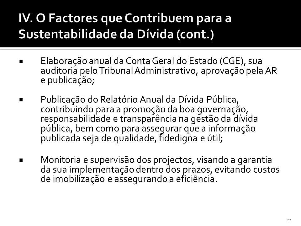 22 Elaboração anual da Conta Geral do Estado (CGE), sua auditoria pelo Tribunal Administrativo, aprovação pela AR e publicação; Publicação do Relatóri