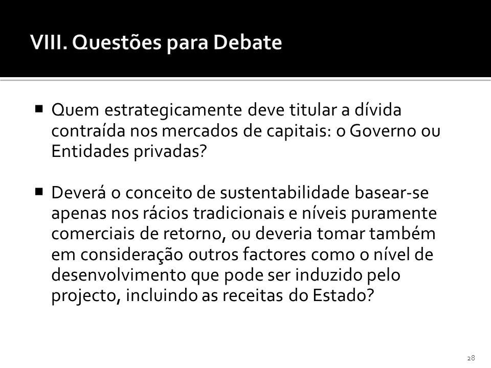 28 VIII. Questões para Debate Quem estrategicamente deve titular a dívida contraída nos mercados de capitais: o Governo ou Entidades privadas? Deverá