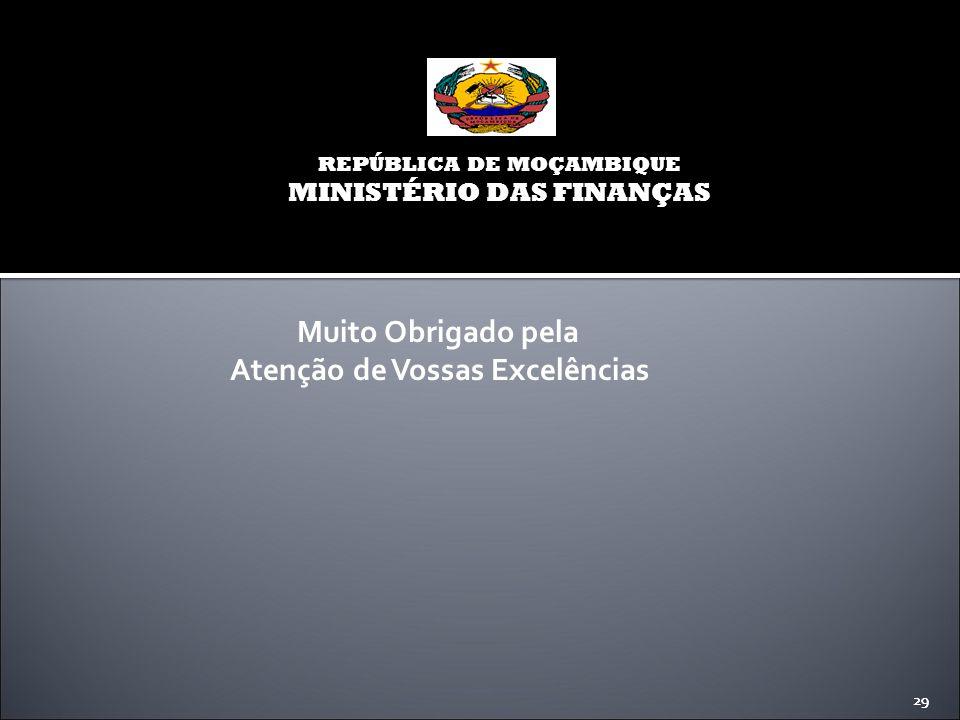 29 REPÚBLICA DE MOÇAMBIQUE MINISTÉRIO DAS FINANÇAS 29 Muito Obrigado pela Atenção de Vossas Excelências