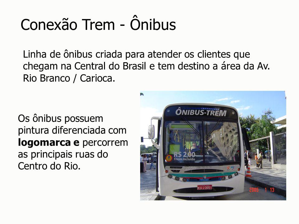 Linha de ônibus criada para atender os clientes que chegam na Central do Brasil e tem destino a área da Av. Rio Branco / Carioca. Os ônibus possuem pi