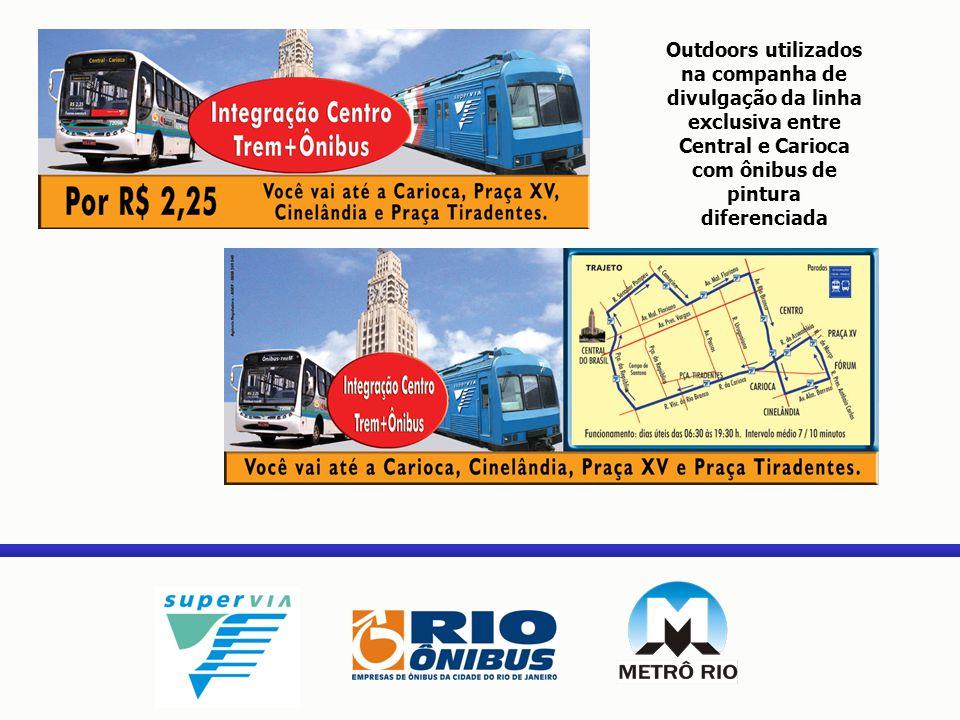 Outdoors utilizados na companha de divulgação da linha exclusiva entre Central e Carioca com ônibus de pintura diferenciada