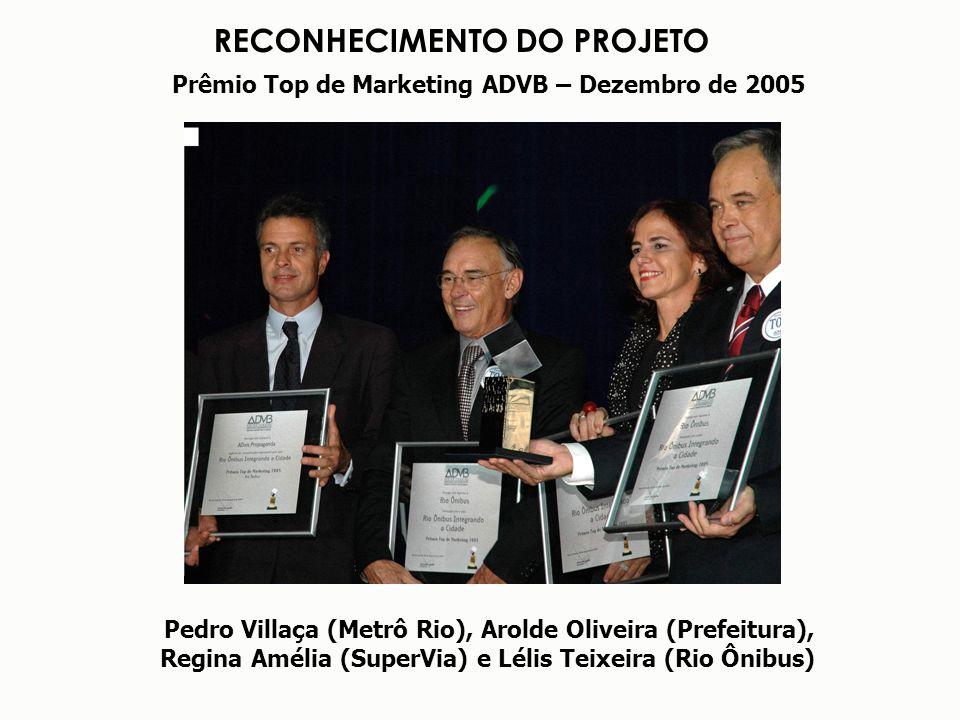 RECONHECIMENTO DO PROJETO Prêmio Top de Marketing ADVB – Dezembro de 2005 Pedro Villaça (Metrô Rio), Arolde Oliveira (Prefeitura), Regina Amélia (Supe