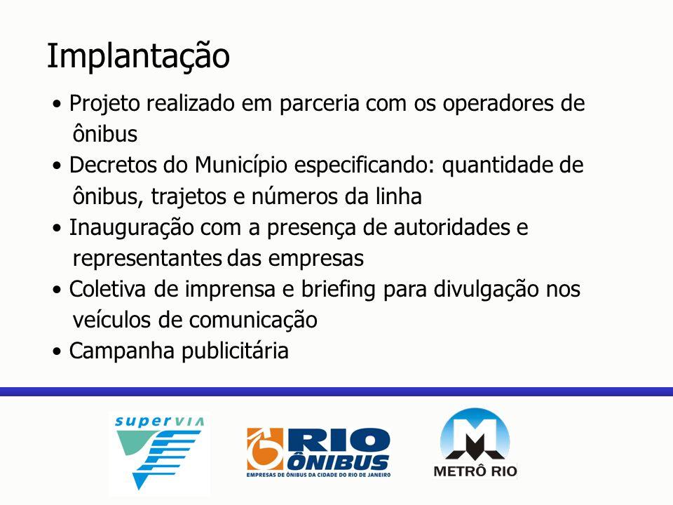 Projeto realizado em parceria com os operadores de ônibus Decretos do Município especificando: quantidade de ônibus, trajetos e números da linha Inaug