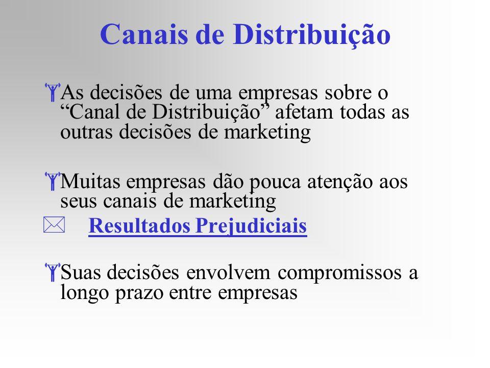 Canais de Distribuição As decisões de uma empresas sobre o Canal de Distribuição afetam todas as outras decisões de marketing Muitas empresas dão pouc