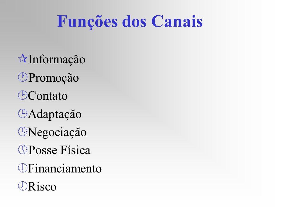 Funções dos Canais ¶Informação ·Promoção ¸Contato ¹Adaptação ºNegociação »Posse Física ¼Financiamento ½Risco