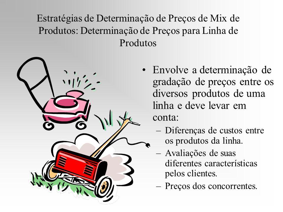 Estratégias de Determinação de Preços de Mix de Produtos: Determinação de Preços para Linha de Produtos Envolve a determinação de gradação de preços e