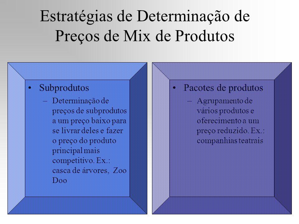 Subprodutos –Determinação de preços de subprodutos a um preço baixo para se livrar deles e fazer o preço do produto principal mais competitivo. Ex.: c