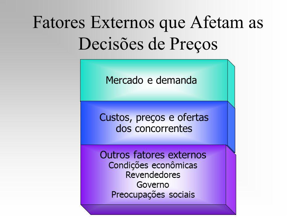 Mercado e demanda Custos, preços e ofertas dos concorrentes Outros fatores externos Condições econômicas Revendedores Governo Preocupações sociais Fat
