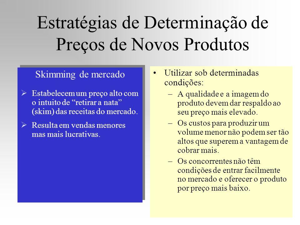 Estratégias de Determinação de Preços de Novos Produtos Skimming de mercado Estabelecem um preço alto com o intuito de retirar a nata (skim) das recei