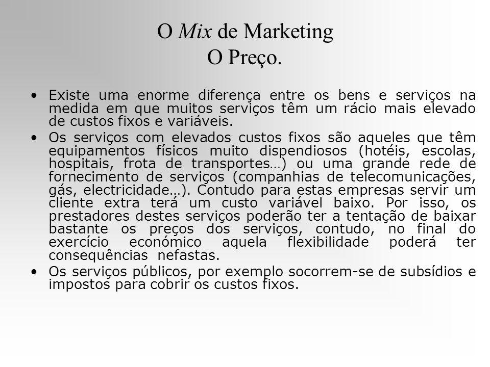 O Mix de Marketing O Preço. Existe uma enorme diferença entre os bens e serviços na medida em que muitos serviços têm um rácio mais elevado de custos