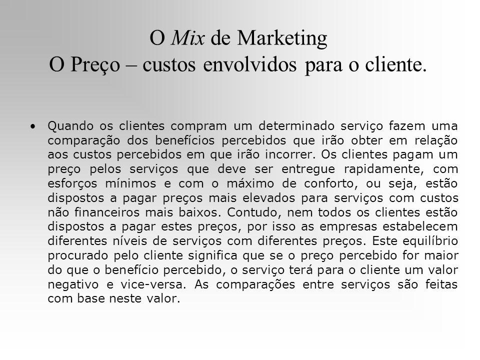 O Mix de Marketing O Preço – custos envolvidos para o cliente. Quando os clientes compram um determinado serviço fazem uma comparação dos benefícios p