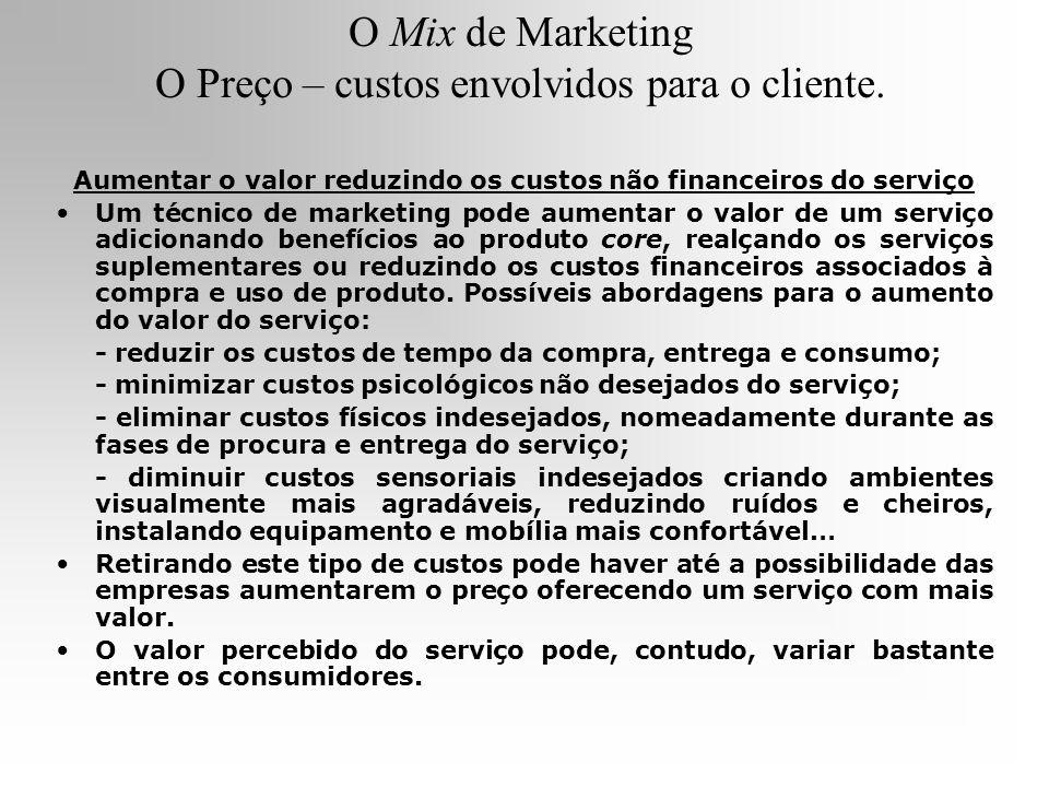 O Mix de Marketing O Preço – custos envolvidos para o cliente. Aumentar o valor reduzindo os custos não financeiros do serviço Um técnico de marketing