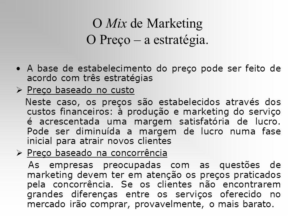 O Mix de Marketing O Preço – a estratégia. A base de estabelecimento do preço pode ser feito de acordo com três estratégias Preço baseado no custo Nes