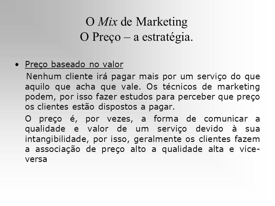 O Mix de Marketing O Preço – a estratégia. Preço baseado no valor Nenhum cliente irá pagar mais por um serviço do que aquilo que acha que vale. Os téc