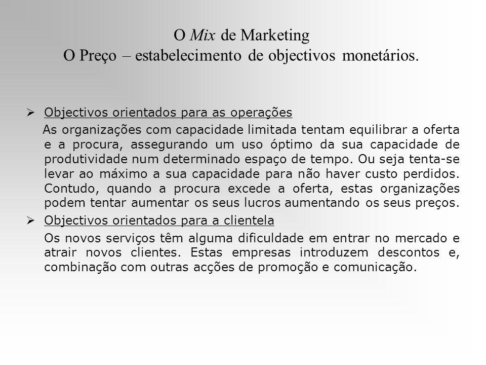 O Mix de Marketing O Preço – estabelecimento de objectivos monetários. Objectivos orientados para as operações As organizações com capacidade limitada
