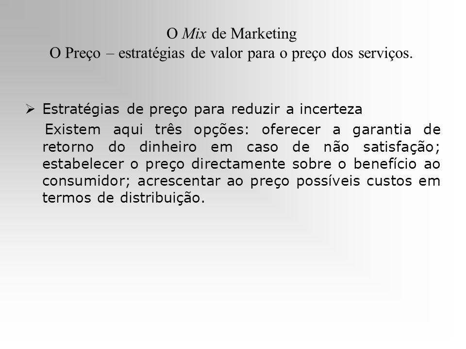O Mix de Marketing O Preço – estratégias de valor para o preço dos serviços. Estratégias de preço para reduzir a incerteza Existem aqui três opções: o