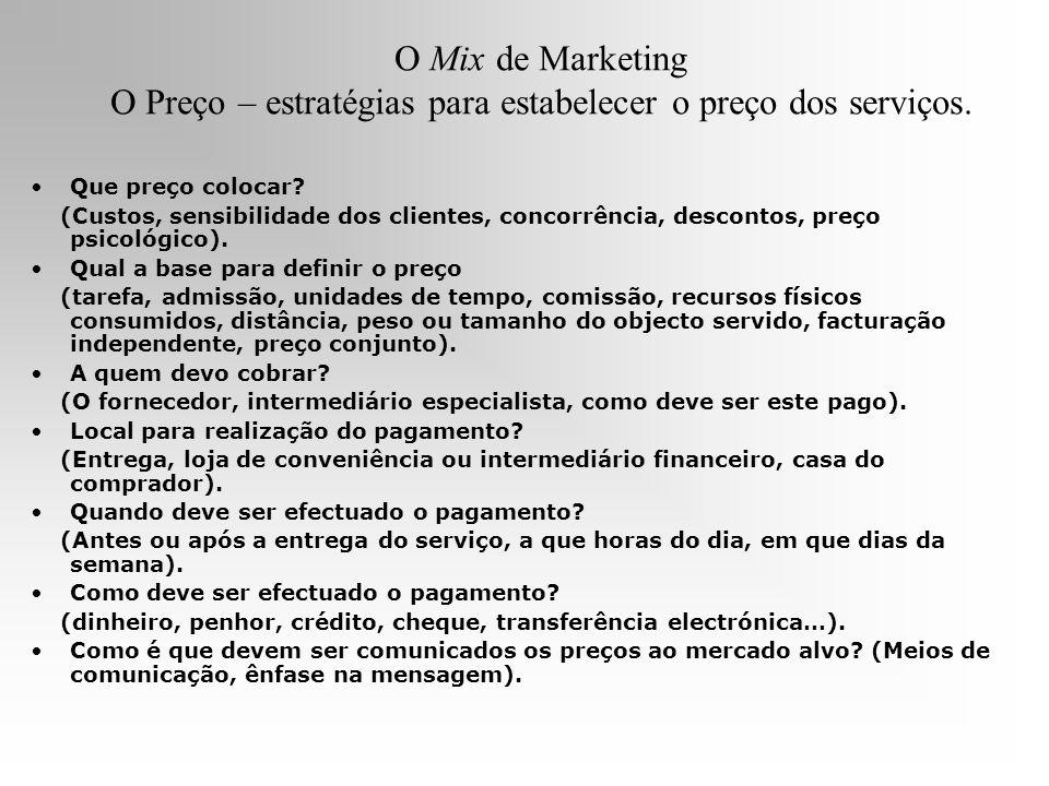 O Mix de Marketing O Preço – estratégias para estabelecer o preço dos serviços. Que preço colocar? (Custos, sensibilidade dos clientes, concorrência,