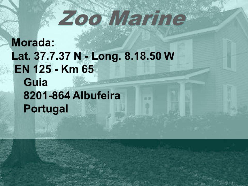 Zoo Marine Morada: Lat. 37.7.37 N - Long. 8.18.50 W EN 125 - Km 65 Guia 8201-864 Albufeira Portugal