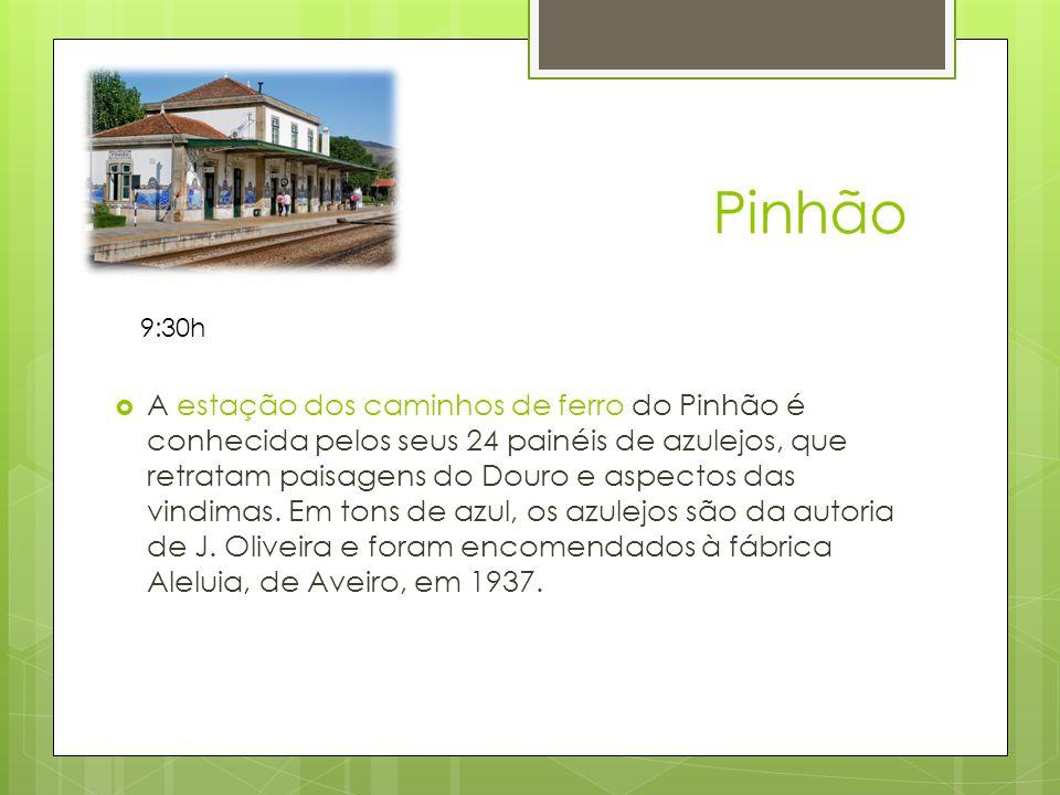 Pinhão A estação dos caminhos de ferro do Pinhão é conhecida pelos seus 24 painéis de azulejos, que retratam paisagens do Douro e aspectos das vindimas.