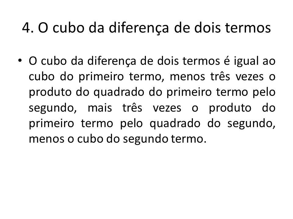4. O cubo da diferença de dois termos O cubo da diferença de dois termos é igual ao cubo do primeiro termo, menos três vezes o produto do quadrado do