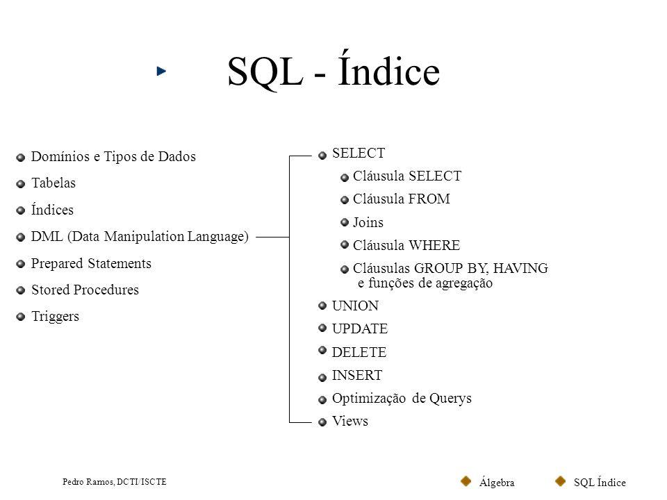 SQL ÍndiceÁlgebra Pedro Ramos, DCTI/ISCTE SQL - Índice Domínios e Tipos de Dados Tabelas Índices DML (Data Manipulation Language) Prepared Statements