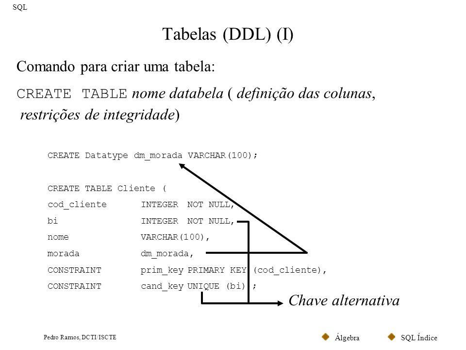SQL ÍndiceÁlgebra Pedro Ramos, DCTI/ISCTE Tabelas (DDL) (I) SQL Comando para criar uma tabela: CREATE TABLE nome databela ( definição das colunas, res