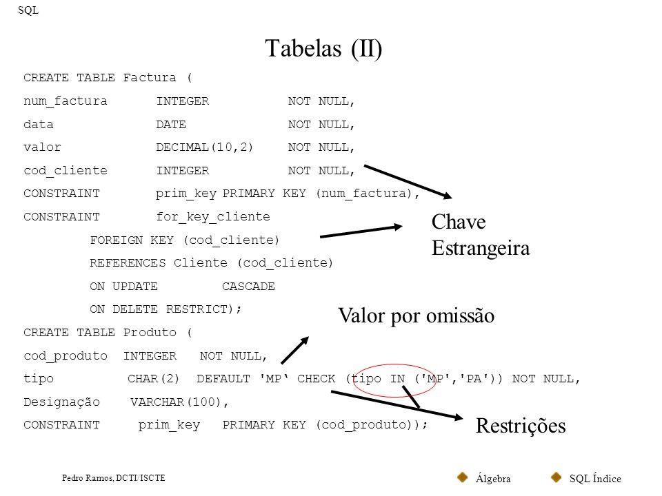 SQL ÍndiceÁlgebra Pedro Ramos, DCTI/ISCTE Tabelas (II) SQL CREATE TABLE Factura ( num_facturaINTEGER NOT NULL, dataDATENOT NULL, valorDECIMAL(10,2) NO