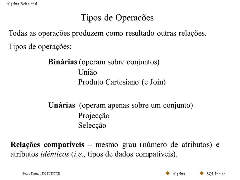 SQL ÍndiceÁlgebra Pedro Ramos, DCTI/ISCTE Tipos de Operações Álgebra Relacional Todas as operações produzem como resultado outras relações. Tipos de o