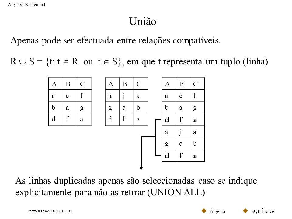 SQL ÍndiceÁlgebra Pedro Ramos, DCTI/ISCTE União Álgebra Relacional Apenas pode ser efectuada entre relações compatíveis. R S = {t: t R ou t S}, em que