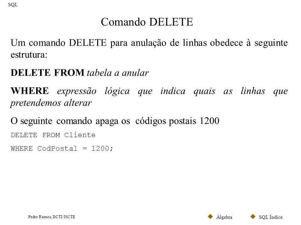 SQL ÍndiceÁlgebra Pedro Ramos, DCTI/ISCTE Comando DELETE SQL Um comando DELETE para anulação de linhas obedece à seguinte estrutura: DELETE FROM tabel