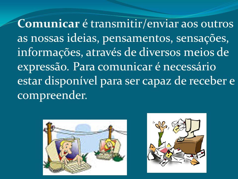 Comunicar é transmitir/enviar aos outros as nossas ideias, pensamentos, sensações, informações, através de diversos meios de expressão. Para comunicar
