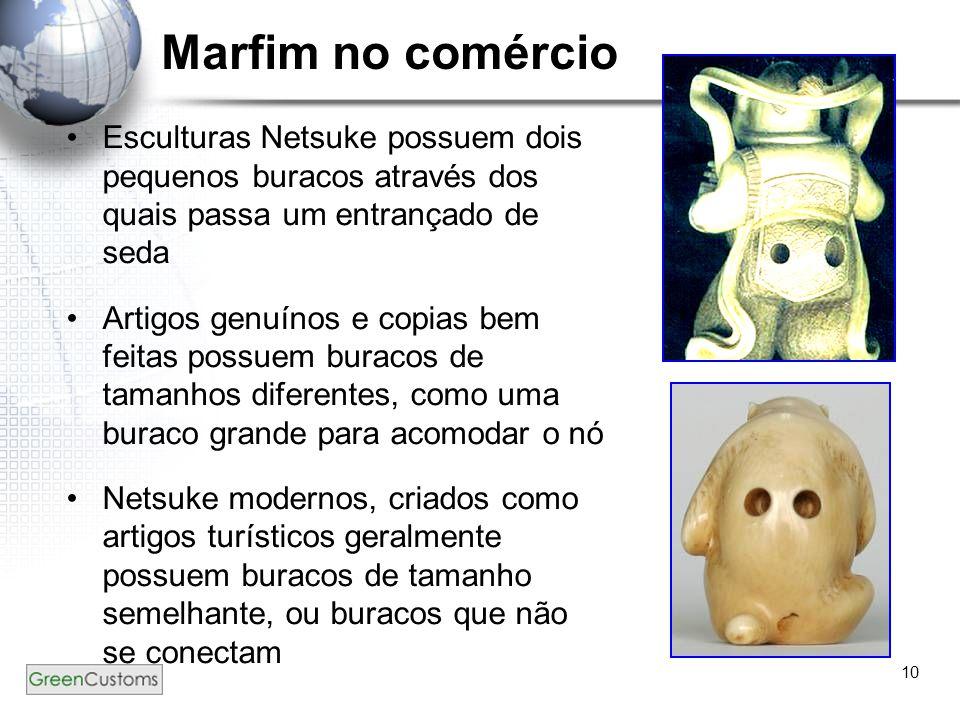 10 Marfim no comércio Esculturas Netsuke possuem dois pequenos buracos através dos quais passa um entrançado de seda Artigos genuínos e copias bem fei