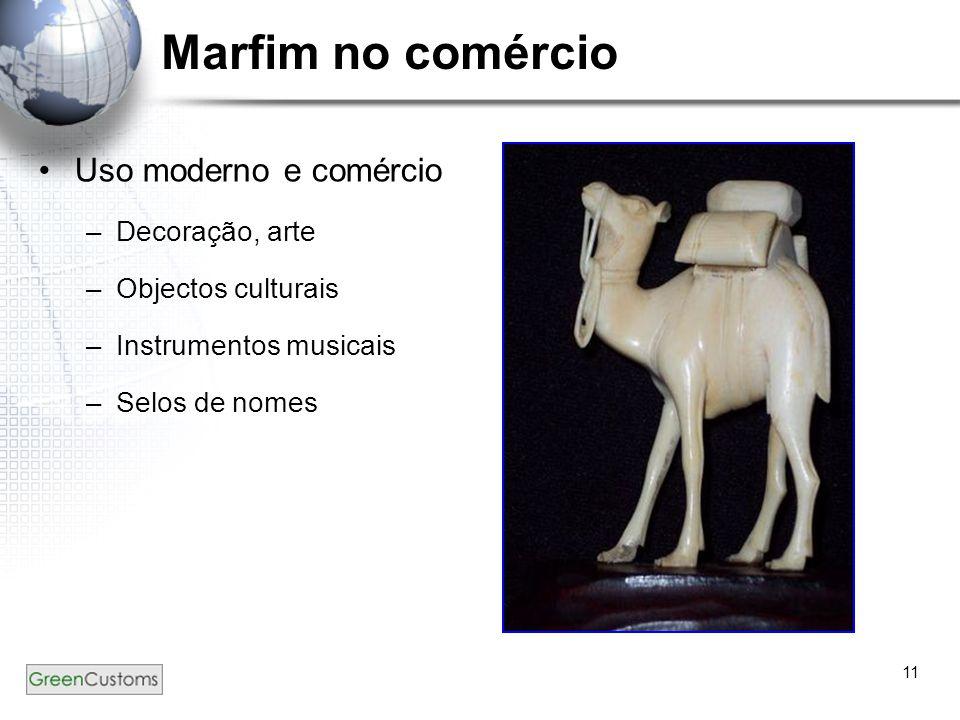 11 Marfim no comércio Uso moderno e comércio –D–Decoração, arte –O–Objectos culturais –I–Instrumentos musicais –S–Selos de nomes