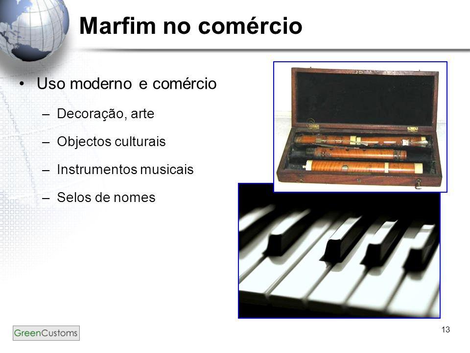 13 Marfim no comércio Uso moderno e comércio –Decoração, arte –Objectos culturais –Instrumentos musicais –Selos de nomes