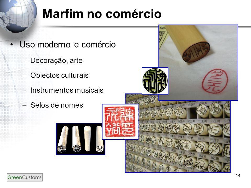 14 Marfim no comércio Uso moderno e comércio –Decoração, arte –Objectos culturais –Instrumentos musicais –Selos de nomes