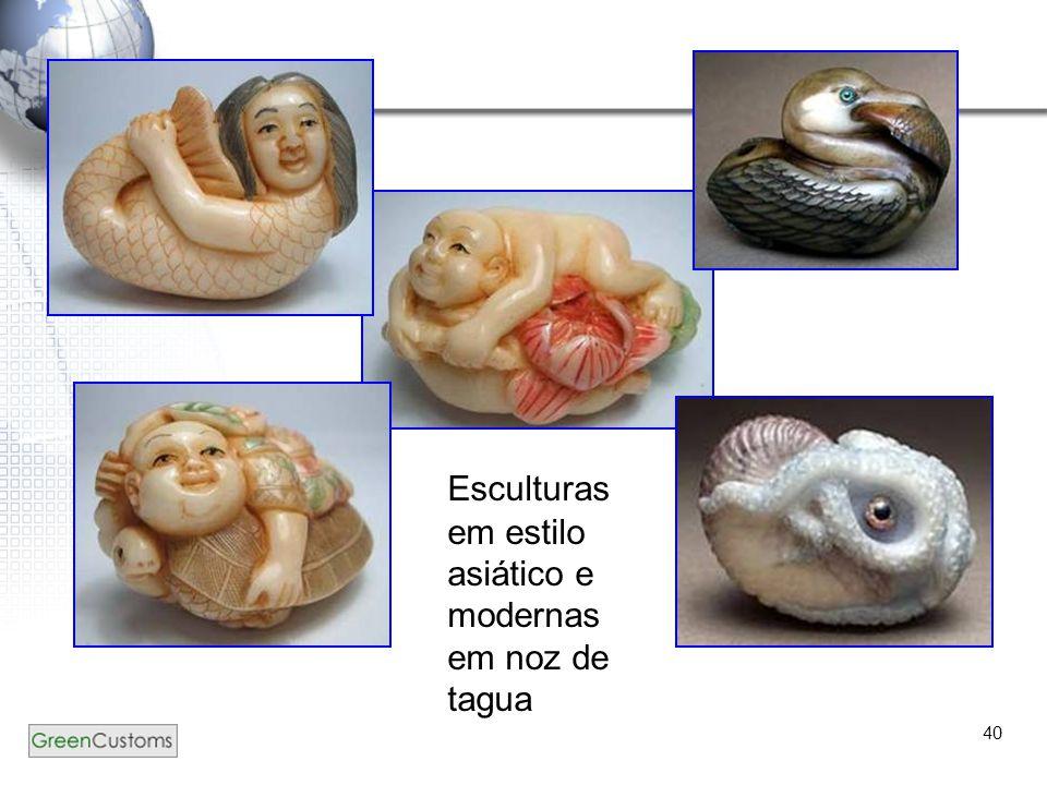 40 Esculturas em estilo asiático e modernas em noz de tagua