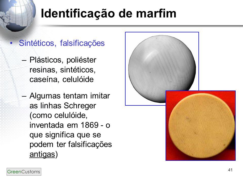 41 Identificação de marfim Sintéticos, falsificações –Plásticos, poliéster resinas, sintéticos, caseína, celulóide –Algumas tentam imitar as linhas Sc