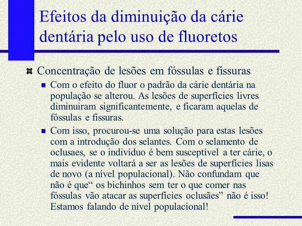 Efeitos da diminuição da cárie dentária pelo uso de fluoretos Concentração de lesões em fóssulas e fissuras Com o efeito do fluor o padrão da cárie de