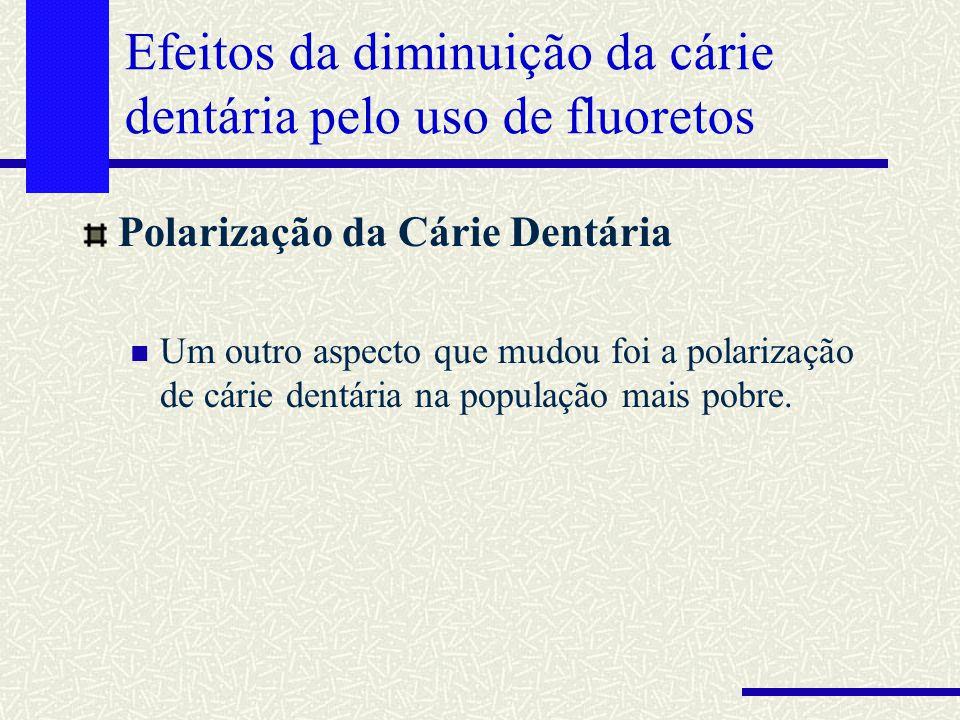 Efeitos da diminuição da cárie dentária pelo uso de fluoretos Polarização da Cárie Dentária Um outro aspecto que mudou foi a polarização de cárie dent